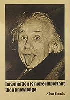 アルバート・アインシュタイン・ポスターのレトロ・ペーパー・イマジネーションは知識よりも重要51x35cm [並行輸入品]