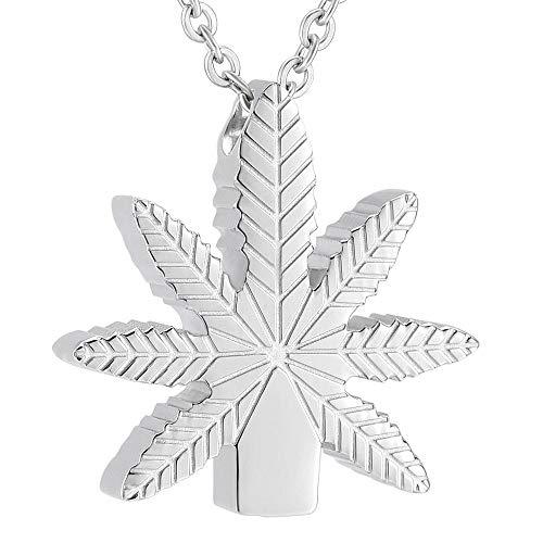 QFV Collar de cremación para Cenizas, Hojas de Marihuana, urna Conmemorativa, Recuerdo, Collar de cremación para Mujeres