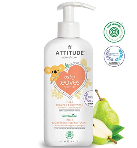 ATTITUDE Natural 2-in-1 Baby Shampoo and Body Wash, EWG Verified, Hypoallergenic, Dermatologist Tested, Pear Nectar, 16 Fluid Ounce (473 mL)