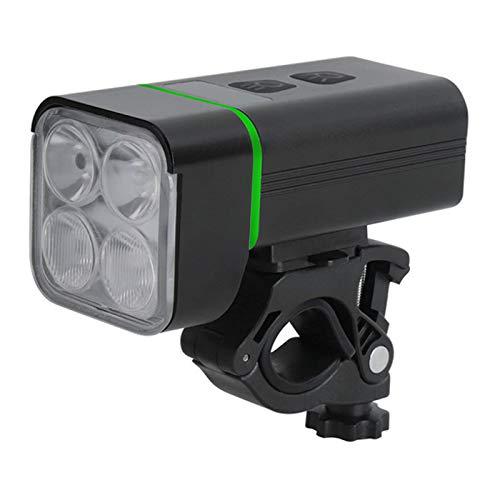 LWXXXA Luz para Bicicleta 3 en 1, Banco de energía de 5200 mah + Linterna, Carga USB/Soporte Giratorio de 360 ° / Haz Alto/Haz bajo/atenuación de 4 velocidades