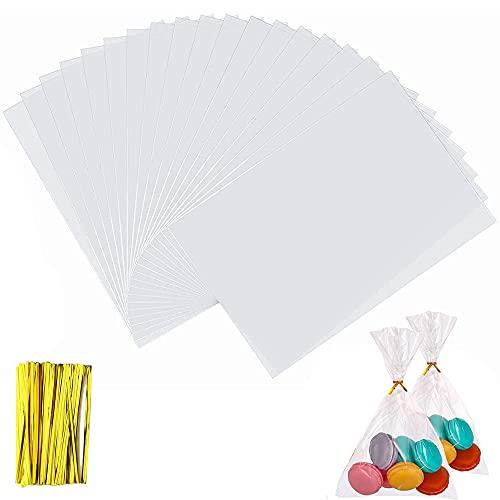 100pcs Sacchetti di Plastica Trasparente in Cellophane|20 cm x 28 cm,per Caramella,Biscotto,Bread,ChocolateBakery Bags