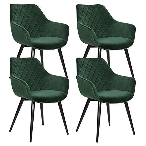WOLTU Esszimmerstühle BH153gn-4 4er Set Küchenstühle Wohnzimmerstuhl Polsterstuhl Design Stuhl mit Armlehne Grün Gestell aus Stahl Samt
