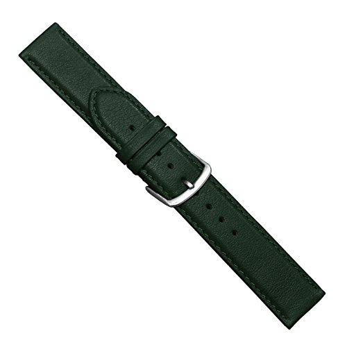 Uhrbanddealer Unisex Uhrenarmband 18mm Ersatzband Soft-Kalb Leder Dunkel Grün 397618s