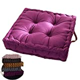 WAQIA Square Thick Floor Seating Cushions,Solid Thick Tufted Cushion Meditation Pillow Square Floor Pillow Seating with Carrying Handle,Sofa Balcony Tatami Pad (Purple)