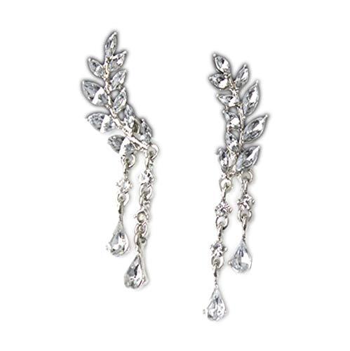 Pendientes de lóbulo con flores y hojas de cristales de circonita cúbica brillante y elegante chapado en plata
