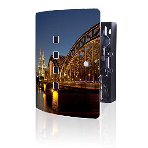 banjado Design Schlüsselkasten aus Edelstahl | 10 Haken für Schlüssel | praktischer Magnetverschluss | 24x21,5cm Motiv Köln