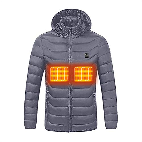 Herren Winterjacke Elektrische Jacke Beheizt Mantel, MäNner Outdoor Kapuze Heizung Mantel Thermokleidung Beheizte Kleidung, USB Wiederaufladbare Heizung Body Warmer Coat