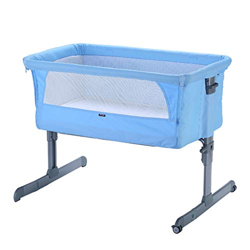 Best Deals! Newborn Crib Attach to Parent's Bed 6 Height Adjustable Mobile Baby Bed Foldable Appease Cradle Bed with Wheel Suitable for 0-12 Months