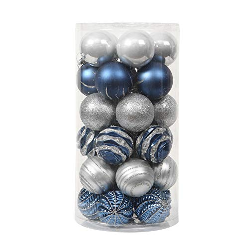 60mm/2.36' 30ct Christmas Ball Ornaments,Blue and Silver Shatterproof Clear Plastic Decorative Xmas Balls Ornaments Set (Blue and Silver)
