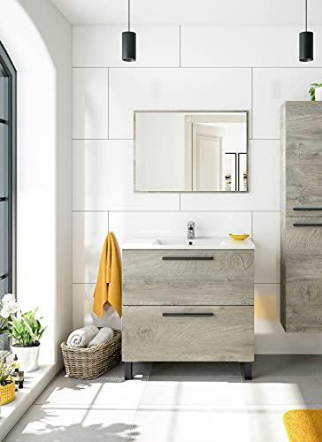 Dmora Mobile bagno a due cassetti con specchio per lavabo da appoggio, colore rovere, cm 80 x 80 x 45 cm, 80x80x45