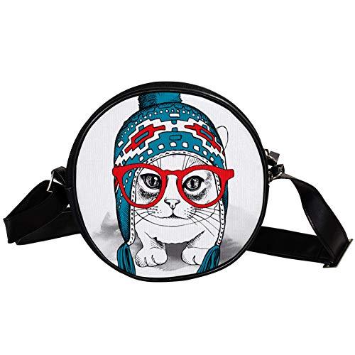 Sac à bandoulière rond avec chapeau d'hiver bleu en diagonale - Sac à bandoulière tendance en toile - Mini sac à bandoulière incliné