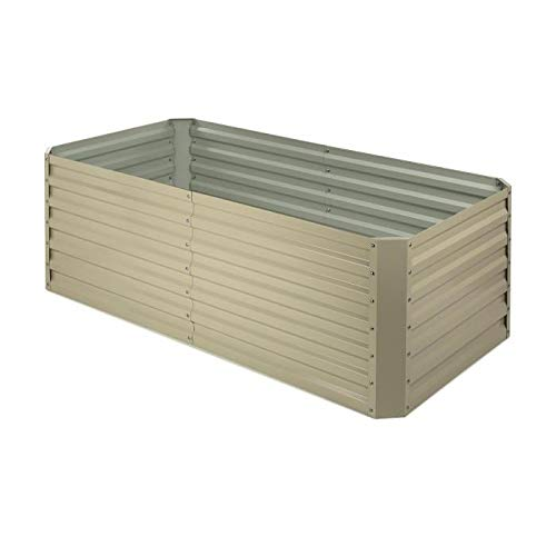 Blumfeldt High Grow Straight Raised Bed • Garden Bed • Flowers, Herbs and Vegetables • Expandable • 250 Gallons • Steel • Weather-Resistant • Snail Protection • Galvanized • Beige