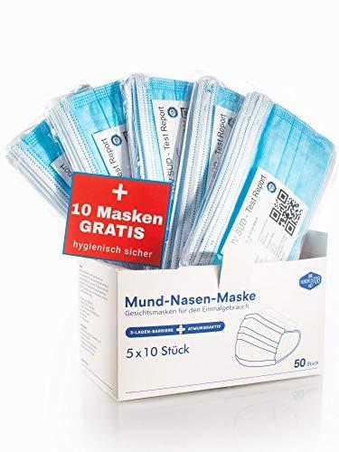 ONE HUNDRED AID Einmalmasken Mundschutz - TÜV geprüft, 6O Stück im 1Oer Beutel hygienisch verpackt, geruchsneutral mit Draht-Nasenbügel