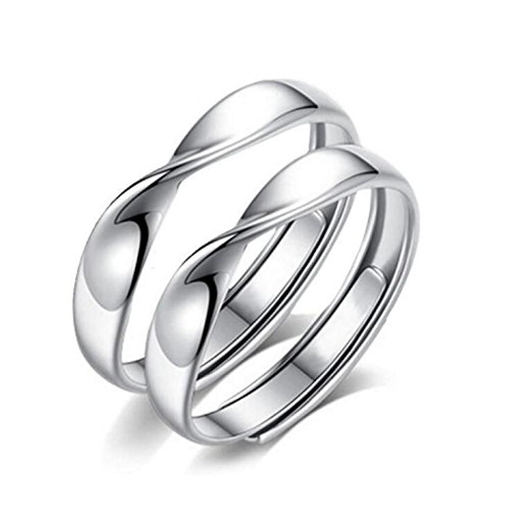ビリーヤギ貴重なに対してE-Floral ペアリング カップル フリーサイズ 婚約指輪 2個セット シルバー925 純銀製指輪 ペア指輪 リボンリング