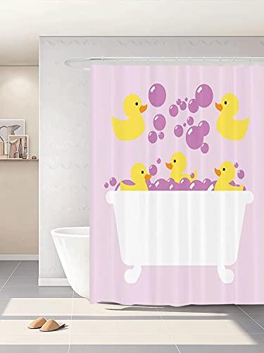 Abaysto Duckies Duschvorhang-Set, abstrakte schwimmende gelbe Gummi-Enten mit lila Blasen in einer Wanne, Design lila, lila, gelb, Badezimmer-Dekoration, mit Haken, Polyester-Stoff, tolles Geschenk