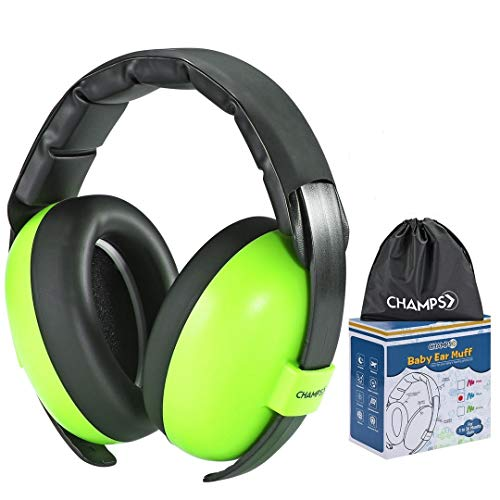 Baby Ear Muffs, Champs Baby Earmuff Noise Protection Reduction Headphones for 0-3 Years Babies, Toddler, Infant, Safety Hearing Ear Muff Shooting Range Hunting Season [Green]