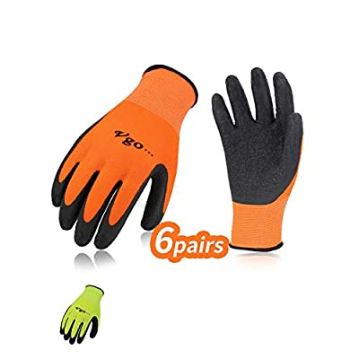 Vgo Latex Rubber Coated Gardening and Work Gloves