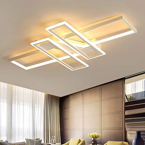 Lámpara de Techo LED para Salón Lámpara de Techo Interior Regulable Diseño Moderno Rectangular Lámpara de Techo Decor para el Salón Dormitorio Pasillo Luces con Mando a Distancia para Casa de Campo