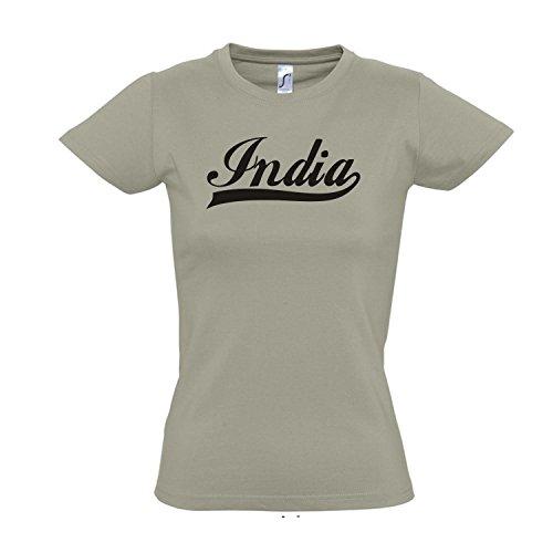 Damen T-Shirt - India Oldschool Indien LÄNDERSHIRT EM / WM FAN Trikot S-XXL , Khaki - schwarz , L