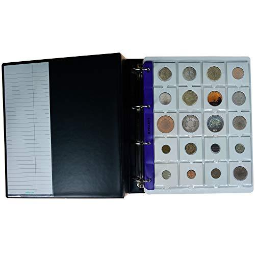 PELLER'S Álbum de colección 200 Cartones para Monedas. 10 Fundas y cartulinas separadoras, Negro, Modelo XL