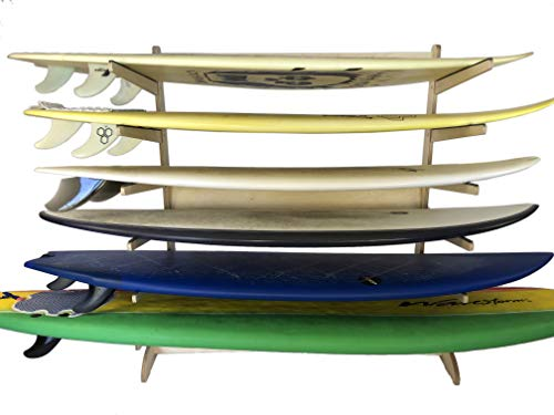6-Level Freestanding Surf Rack | Storage for: shortboard, Fish, Fun Boards (Freestanding; for use Indoors and Dry Spaces Outdoors; Made in The USA)