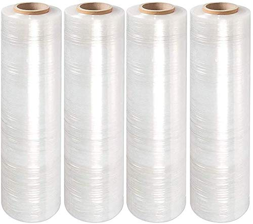 """Upkg Stretch Clear Cling Durable Adhering Moving Packaging Heavy Duty Shrink Film Stretch Wrap 18"""" x 1000' Roll 80 Gauge Extra Thick Durable Self-Adhering(4Roll)"""