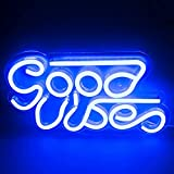ifreelife Good Vibes Neon Sign(12.44'x6.89') Acrylic Board Neon Lights Led Neon Wall Signs, Hanging Word Led Signs for Room Decor, Game Room, Pub, Hotel, Bar, Party Art Decoration