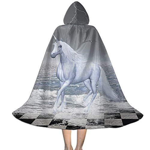 Amanda Walter Capa para nios con Capucha Mar en Tablero de ajedrez con un Caballo Unicornio Halloween