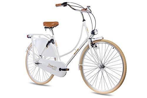 KCP 28 Zoll Citybike Damen Hollandrad - Deritus N3 Weiss - Damen-City-Fahrrad mit Shimano Nexus 3 Gang Nabenschaltung im Retro Design, Vintage Damenfahrrad mit Rücktrittbremse und Gepäckträger