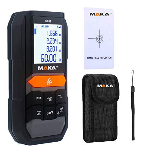 Metro laser digitale pro MAKA 60m MK 201 |Telemetro perdistanza, area, volume, distanziometro con funzione Pitagora | Ampio display LCD | Misuratore della distanza laser IP54 | Memoria: 20 voci