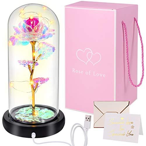 Yodeace Rosa Preservada, Flor Dorada Artificial con Batería USB Eternal Rose En Cúpula de Vidrio con Luz Led Tarjeta de Felicitación para Novia Esposa Su Cumpleaños de San Valentín Regalos
