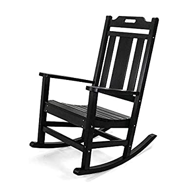 PolyTEAK Modern Rocking Chair   All Weather, PolyTEAK Plastic Polylumber   Porch and Patio   Created and Designed in California   New 2021 (Matte Black)