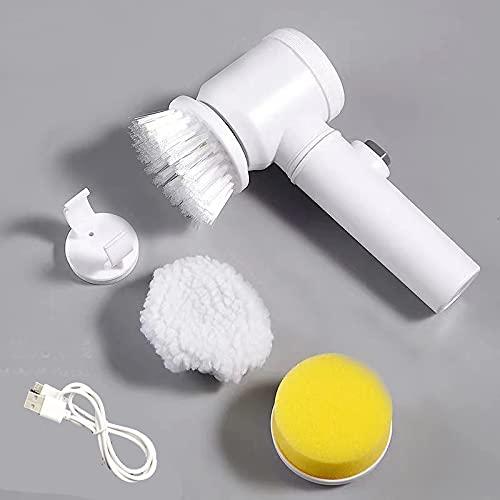 Cepillo Limpieza Eléctrico Fregadora Giratoria limpiacristales con 3 Cabezales de Repuesto para baño Cepillo de Limpieza para Suelo de Cocina