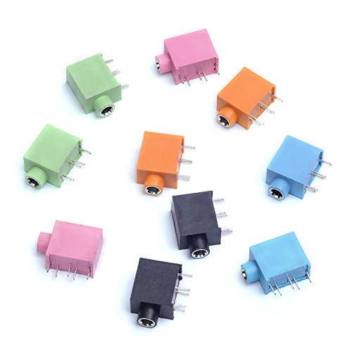 Cylewet 10Pcs 3.5mm Stereo Female Audio Socket Headphone Jack PCB Panel Mount Connector 5 Pins for Arduino (Pack of 10) CYT1032