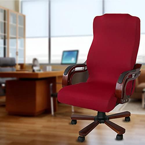 GeKLok Funda de silla de oficina para silla de ordenador, funda giratoria elástica, suave, extraíble, universal, giratoria, color rojo