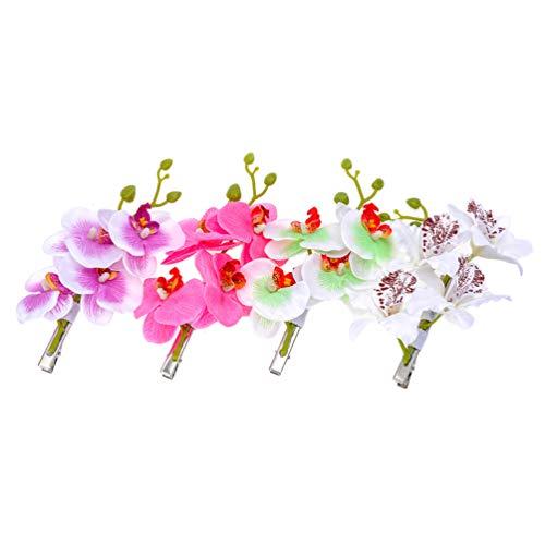 Minkissy 4Pcs Pinzas para El Cabello de Flores de Orquídeas Artificiales Pinzas de Cocodrilo Florales Pasadores para El Cabello de La Boda Luau Hawaiano Favorece Los Regalos (Blanco Morado Verde Rosa)