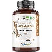 Organic Ashwagandha with Black Pepper - 180 Tablets (6 Month Supplement) - Vegan Ashwaganda Tablets, Ayurvedic Natural Nutrition Capsules, Health Food, High Strength Herbal Formula