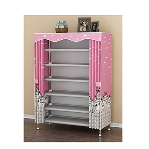 QIFFIY Zapatero de almacenamiento, 28 pares, portátil, doble capa, no tejido, color rosa, tamaño: 65 cm