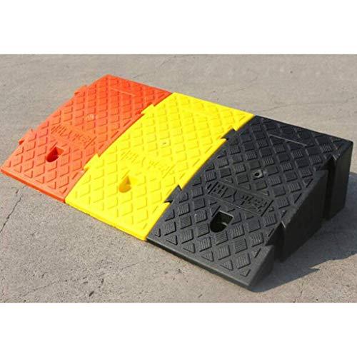 Rampa de servicio 16 / 19CM, escalones para el hogar Motos Carretilla para rampas rampa para vehículos de garaje Fácil de llevar rampa de umbral de plástico ( Color : Yellow , Size : 25*47*19CM )