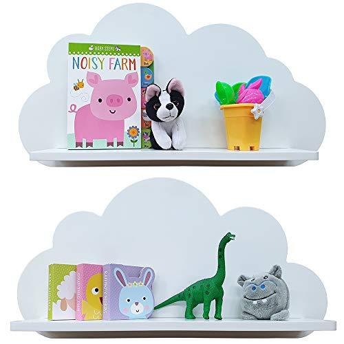 Cloud Shelves for a Children's Nursery Floating Shelf Design (Pair - 2X Shelves) Shelving Child's Bedroom Themed Boy/Girl - Available in White, Grey, Blue or Pink (White)