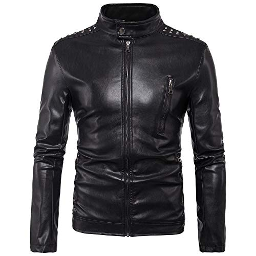 Preisvergleich Produktbild WEDGFG Ou Code 2019 Außenhandel Neue Herren Motorrad Niet Leder schöne Lederjacke Mantel für den Außenhandel exklusiv für B007-schwarz_XXL