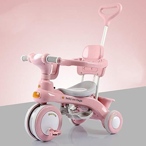 Kinder Dreirad Fahrrad im Freien Kinderwagen Kinderwagen,Monsteramy (Color : Pink)