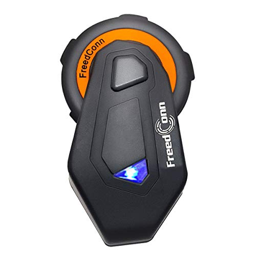 Motorrad Intercom für 6 Fahrer Gruppe Intercom, FreedConn T-Max Helm Bluetooth Headset für Motorrad Skifahren (1000m Reichweite, Wasserdicht, FM Radio, Voice Prompt, (1er Set))