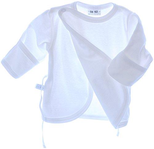 La Bortini Hemdchen Wickelshirt Babyhemdchen Shirt Flügelhemdchen 50 56 62 68 Taufe Weiß (56)