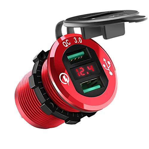 Huante - Toma de carga rápida USB 3.0 para encendedor de coche con doble toma USB / 12 V / 24 V con voltímetro LED