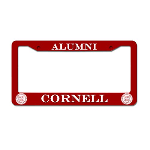 VVEDesign Frame Cornell University Alumni Metal License Plate Frame Slim Stainless Steel Funny Sayings License Plate Tag Frame with Free Caps White 16x31cm