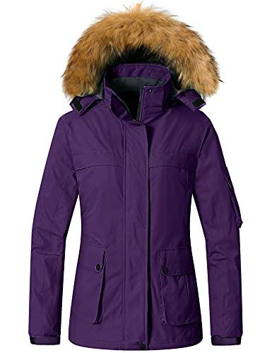 Wantdo Women's Mountain Snow Coat Waterproof Skiing Jacket Winter Clothing Dark Purple XL