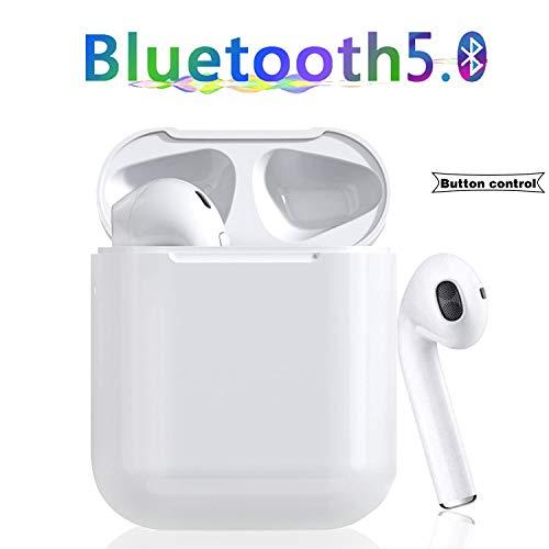 Bluetooth Kopfhörer 5.0,Funk In-Ear-Ohrhörer, Sport-3D-Stereo-Kopfhörer, Tastensteuerung,IPX6,mit Portable Mini Ladekästchen und Integriertem Mikrofon für Apple Airpods Android iPhone weiß