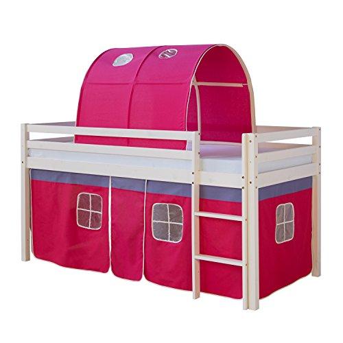 Homestyle4u 1561, Kinder Hochbett Mit Leiter, Tunnel, Vorhang Pink, Massivholz Kiefer Weiß, 90x200 cm