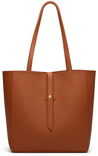 Dreubea Women's Large Tote Shoulder Handbag Soft Leather Satchel Bag Hobo Purse Brown